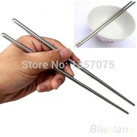 Wholesale 2 Types Chinese Style Thread Stylish Non slip Design Stainless Steel Chop Sticks Chopsticks Environment Hollow