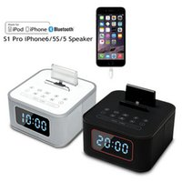 clock radio mp3 - New S1 pro Alarm Clock Radio Speaker system Multifunction bluetooth subwoofer speaker charging docking station for iphone6 s