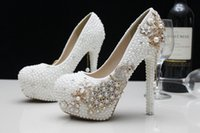 Wholesale Romantic Ladies Valentine Wedding Shoes With Pearls Crystals Women Pumps For Party Bottom High Heels Bridal Wedding Shoes Woman