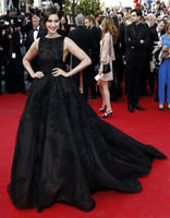Cheap Sonam Kapoor 2015 Cannes Red Carpet Elie Saab Gown Evening Dresses Ball Gown High Backless Court Train Black Evening Gowns