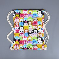 Wholesale 50pcs Tsum Tsum Mickey Minnie Backpacks High Quality Canvas Drawstring Bags Cartoon Mouse Pattern Casual Everyday Bag For Children Gifts