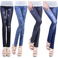 best denim leggings - 2015 Hot Imitate Jeans Leggings for Women best price Ripped Denim Spandex Graffiti Printed Legging Leggings