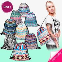 aztec print backpack - New Fashion Aztec Bag Escolar Backpack d Print Travel Softback Men Women Mochila Harajuku Drawstring Bag Unisex Backpacks