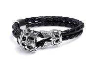 casting jewelry - titanium steel leather skeleton man bracelet casting bangle stainless steel bracelet wristband man jewelry BH102202