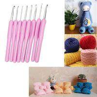 Wholesale 8 size Soft Plastic Handle Aluminum Crochet Knit Hook Needle Set mm