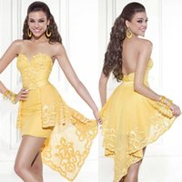 bare heart - Tarik Ediz Short Prom Gown Homecoming Party Cocktail Mini Graduation Dresses New A Line Sweet heart Yellow Sexy Bare Back Tulle Cheap