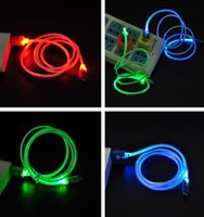 Wholesale 1 Pc LED Visible Light Android Micro Mini USB Charge Data Sync Extension Cable for Samnssung Sonnny red green blue