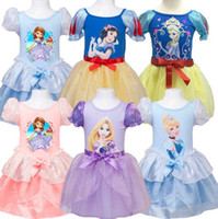 baby bubble shorts - princess sofia snow white rapunzel Cinderella costume girls princess cosplay dress summer bubble dress baby girls cotton tutu dress in stock