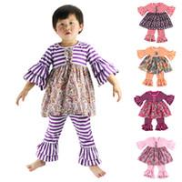 Wholesale Wennikids New Fashion Little girls clothing sets Floral Children s Clothing set Girls Clothes suits Striped Floral Design Children Outfits
