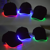 Wholesale LED Lights Flash Hat Cap Outdoor Sports Night CE Stage Performance Of Evironmental Potection Fber Sports Cap Gow Bseball Hat