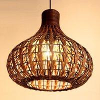 rattan - Southeast Asia Rattan Garlic Dining Room Ceiling Pendant Light Rattan Woven Pendant Lamp Handmade Study Room Restaurant Chandelier Light