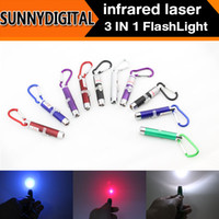 b lights flashlights - 500pcs Colorful Multifunctional Triple mini flashlight infrared laser light teaching UV money detector light LED flashlight B