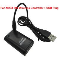 achat en gros de x boîtier de commande sans fil-2pcs Ni-MH 4800mAh batterie rechargeable pour xbox x box 360 xbox360 contrôleur sans fil avec câble chargeur USB noir blanc