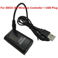 Wholesale 2pcs Ni MH mAh Rechargeable Battery For XBOX x box xbox360 Wireless Controller With USB Charger Cable Black White