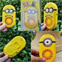 Wholesale 2015 Hot Despicable Me USB Charging Fans Cartoon Rechargeable Children Small Fan smile big eye minions Portable Fan