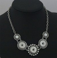 Wholesale Womens NOOSA Statement Necklaces Silver Plated Chain Fit mm Snap Button Crystal Charm Necklace Fashion Jewelry Valentines Gift DCBJ217