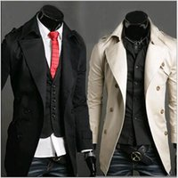 Wholesale New Men s Elegant Fashion Solid High Quality Cotton Double Breasted Long Trench Coats Jacket Overcoat Black Ivory