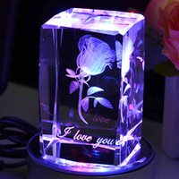 Wholesale Custom K9 Crystal D Rose engraved souvenir with light base Birthday wedding Valentine s Day gift furnishing crafts personal collection