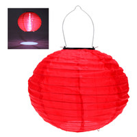 chinese lanterns - 10 quot Solar Powered LED Light Chinese Nylon Fabric Lantern Lamp Lighting for Garden Outdoors H12181