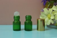 Wholesale 10PCS SMALL ML GREEN EMPTY PERFUME ROLL ON ROLLER BALL GLASS BOTTLE
