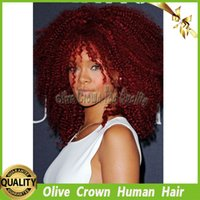 afro red - Burgundy Full Lace Wig Human Hair Red Afro Kinky Curly Lace Front Human Hair Wigs With Baby Hair Color J