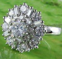 emerald ring - Cheap Round Emerald Cut Clear White Topaz Gemstone Silver Ring Size A0020