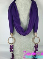 Wholesale LHB color metal alloy necklace scarf Cotton hemp grape tassels bead Pendant Scarves