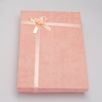Wholesale Jewelry Cardboard Boxes with Flower and Sponge Inside Rectangle Pink x120x30mm Inner size x115mm