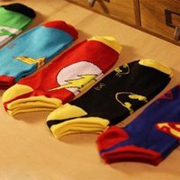 Wholesale hot DC superhero socks Superman batman wonder woman footsocks Breathable cotton cartoon sock slippers