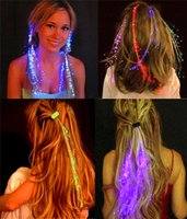 Wholesale Luminous Braid Flicker Optical Fiber Flash Design Show Hairpin Plastic Party Night Light Unique Creative Decoration Birthday Shine Pigtail