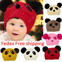 winter animal hat - Fedex lovely animal panda baby hats and caps kids boy girl crochet beanie hats winter cap for children to keep warm