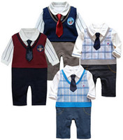 fine clothing - Boutique baby jumpsuits rompers climbing clothes fine gentleman cute tie onesies Baby One Piece Romper