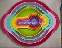 plastic basin - NEW Multi function rainbow kitchen tools sets Measuring spoon Bowl Mixing bowl Basin Creative kitchen utensils cooking tools ldx