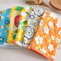Wholesale Oven Glove Mat Pot Pad Heat Proof Microwave Cotton Kitchen Protector Colors oven gloves