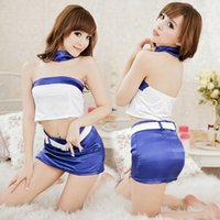 Wholesale Fashion White Blue Sexy School Girl Cheerleader Costume dressing sexy for school
