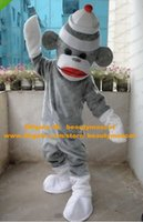Wholesale Likable Grey Sock Little Monkey Mascot Costume Mascotte Small Monkey Adult With Small White Hat Big Red Mouth No Free Ship