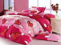 Wholesale 100 Cotton bed linen Angel Hearts Girls Red Pink Bedroom Love Quilt Doona Duvet Cover Set