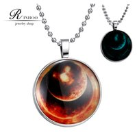 steel orbit - Steampunk Glow in the Dark Pendant Necklace Men Stainless Steel Chain Full Moon Galaxy Space Picture Pendant charm orbiting Planet Jewelry