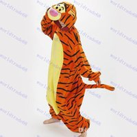 Wholesale Hot Sale Lovely Cheap Orange Tigger Kigurumi Pajamas Anime Pyjamas Cosplay Costume Adult Unisex Onesie Dress Sleepwear