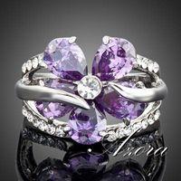 Wholesale AZORA Platinum Plated Stellux Austrian Crystal Purple Flower Design Cubic Zirconia Ring TR0010