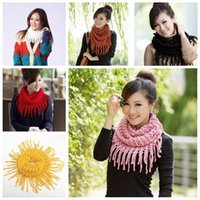 Wholesale Winter Women Warm Infinity Circle Neck Knit Knitted Cowl Long Tassel Scarf Shawl Knitted Tassels Scarves Wraps