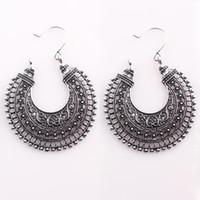 Wholesale Retro Tibet Silver Hollow Filigree Moon Earrings for Women Girls Drop Dangling Earrings Fashion Jewelry E69