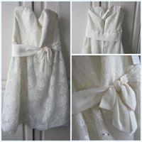 amsale bridal dresses - New Amsale Ally Little White Wedding Dresses Lace Knee Length Zipper Strapless A Line Vintage Simple Sash Bows Bridal Gowns