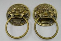 Wholesale Collectible Decorated Old Handwork Copper Hammered Pair Dragon Door knocker