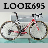 carbon road bicycle - 2014 LOOK carbon bike Carbon Road bicycle Frame with integrated Aerostem and crankset carbon road bike size XS M L color red white