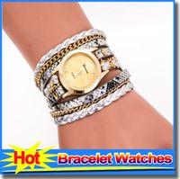 best whites leopard - Leopard Print Long Chain Best Bracelet Watches Handmaid Weave PU Leather Strap Women s Watch Retro Fashion Bracelet Quartz Wristwatch