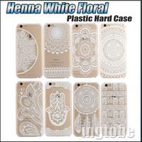 plastic flower - 2016 Henna White Floral Paisley flower mandala Plastic Hard back cell phone cases For Apple iphone s for Samsung s7 s7 edge