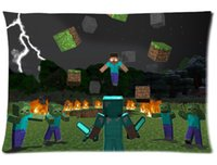 Wholesale Sandbox game pillowcase Minecraft printed design Custom Rectangle Pillow Case quot x24 quot quot x30 quot MFT3