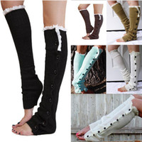 wool boot socks - Boot Cuffs Stocking Socks Fashion Lace Button Down Leg Warmers Ballet Dance Warm Up Knitted booty Gaiters Boot Covers Leggings Tight