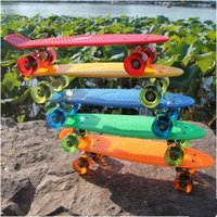 Wholesale 22 quot Skateboard Pastel Skate Board Scooter Style Colorful Decks Retro Cruiser Complete Skateboard Bearing ABEC Longboard